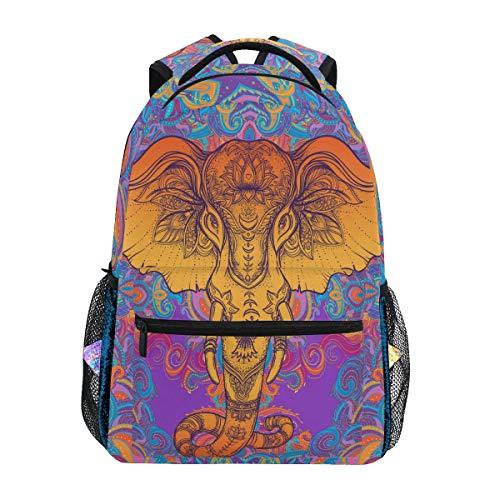 QMIN Sac à dos tribal bohème éléphant animal de voyage universitaire sac à dos sac à dos pour ordinateur portable randonnée camping sac à bandoulière organisateur pour garçons filles femmes hommes