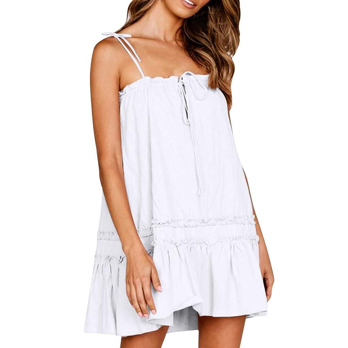 HAALIFE??Ruffle Dresses for Women Summer Spaghetti Strap Solid midi Dress Summer Backless Beach Short Dress