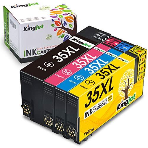 Kingjet 35XL - Cartuchos de tinta de repuesto para Epson 35XL 35 XL compatibles con Epson Workforce Pro WF-4720DWF WF-4725DWF WF-4730DTWF WF-4740DTWF (1 negro, 1 cian, 1 magenta y 1 amarillo)