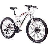 CHRISSON 26 Zoll Mountainbike Fully - Emoter Weiss - Vollfederung Mountain Bike mit 21 Gang Shimano Tourney Kettenschaltung - MTB Fahrrad für Herren und Damen mit Zoom Federgabel
