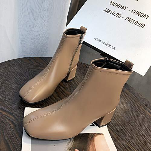 Shukun enkellaarzen voor dames, met hoge hakken en naakte laarzen
