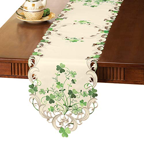 Collections Etc Embroidered Irish Shamrock Table Linens, Runner