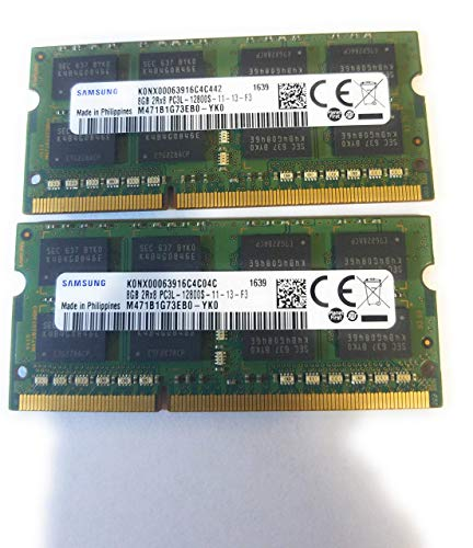 Samsung 16GB (2 x 8GB) 204-pin SODIMM, DDR3 PC3L-12800, 1600MHz ram memory module for laptops (M471B1G73EB0-YK0 x 2)