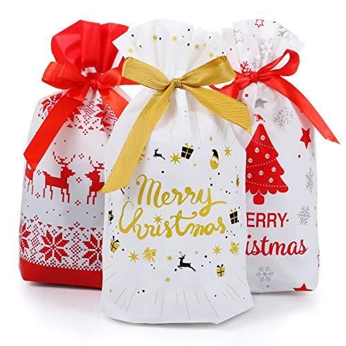 GWHOLE 30 Pezzi Sacchetti Regalo di Natale, Sacchetti da Regalo Motivo di Natale di Sacchetto Bustine Regalo di Natale Borsa di Stoccaggio di Caramelle