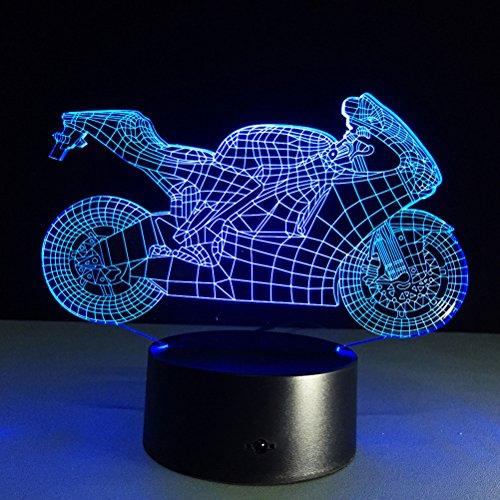 LEDMOMO Tisch LED 3D optische Kreativ Leuchten Farbwechsel optische LED Nachtlicht (Motorrad)