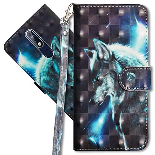 MRSTER Nokia 7.1 Handytasche, Leder Schutzhülle Brieftasche Hülle Flip Hülle 3D Muster Cover mit Kartenfach Magnet Tasche Handyhüllen für Nokia 7.1 2018. YX 3D - Wolf