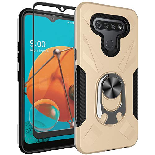 Oleaders for LG K51 Case with Tempered Glass Screen Protector, Rotatable Metal Ring Holder Compatible with Magnetic Car Kickstand Case for LG K51 - Gold