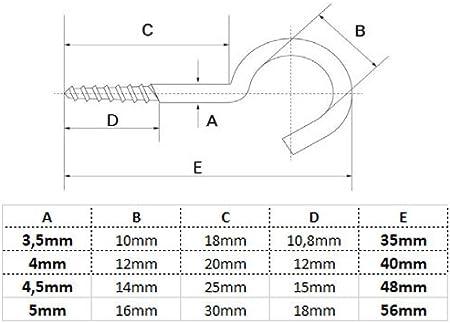 W/äscheleinenhaken SC-Normteile/® Gewindel/änge: 24 mm 5 x 80 mm - 25 St/ück rostfrei - - Wandhaken - aus Edelstahl A2 V2A SC9080 gebogen Schraubhaken mit Holzgewinde