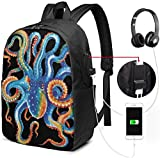 Colorful Octopus Tentacles 17 in Business Daypack with USB Charging and Headphone Port Unisex Bookbag Travel Laptop Backpack