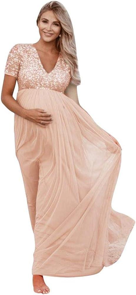 OLEMEK Women Sequin Bridesmaid Maternity Dress V Neck Empire Waist Evening Prom Formal Cocktail Party Baby Shower Maxi Dress