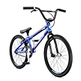 Mongoose Title Expert BMX Race Bike for Beginner Riders, Featuring Lightweight Tectonic T1 Aluminum Frame and Internal Cable Routing with 20-Inch Wheels, Blue
