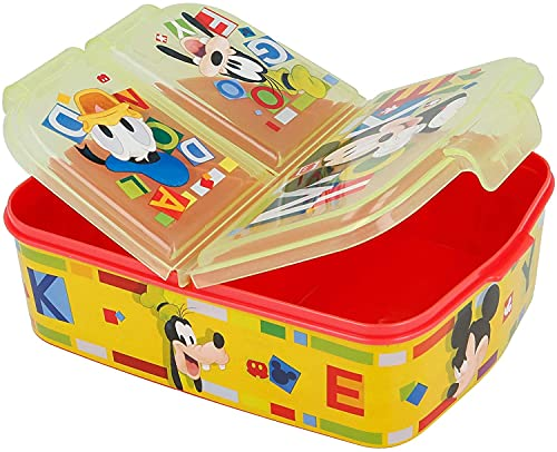 Golddunes Mickey Mouse Yellow Lunchbox Kids Character 3 Compartment...