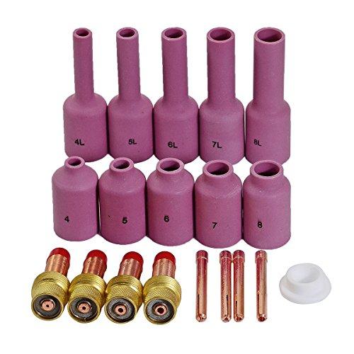 TIG Gas Lens Collets Alumina Cup Kit Fit QQ300 PTA DB SR WP 17 18 26 TIG Welding Torch 19pcs