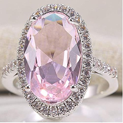 Gamloious Frauen Art und Weise 925 Silber Oval-Schnitt-Rosa Kunzit Ring Hochzeit Schmuck-Größe 6-10 (8)