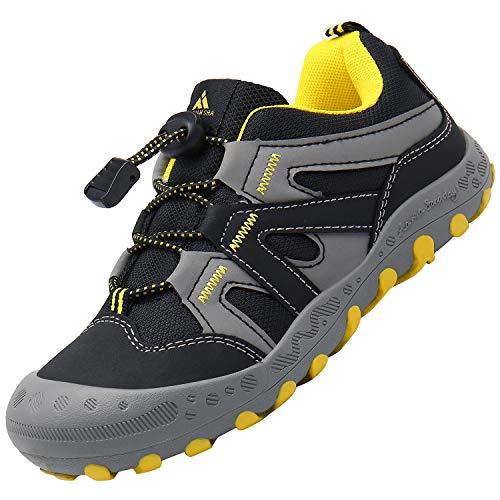 Scarpe Bambini Scarpa da Trekking Ragazzi Antiscivolo Scarpette da Montagna Ragazzo Traspiranti Calzature Bambino Nero 24 EU