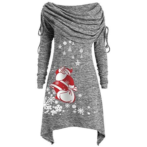 Luotuo Damen Schal Kragen Tunika Oberteile mit Weihnachtsmann-Schneeflocke Druck, Lange Pullover Herbst Winter Plus Size Lange Ärmel Unregelmäßige Falten T-Shirt Mode Freizeit Pulli Tops