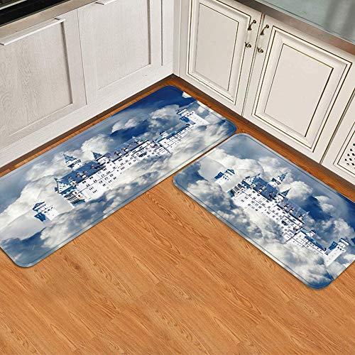 GugeABC Juegos de alfombras de Cocina 2pcs,Alemania New Swan Stone Castle Nube Cielo azu,Alfombrilla Suave Lavable Antideslizante para baño de Entrada de Cocina