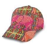 Gorra de béisbol curvada 3D elefante indio estilo vintage textura curvada ala ajustable Snapback gorras deporte papá sombrero camionero sombreros para hombres mujeres negro