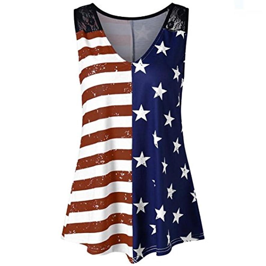 Oksale Women American Flag Print Lace Insert V-Neck Tank Tops Summer Plus Size Shirt Blouse