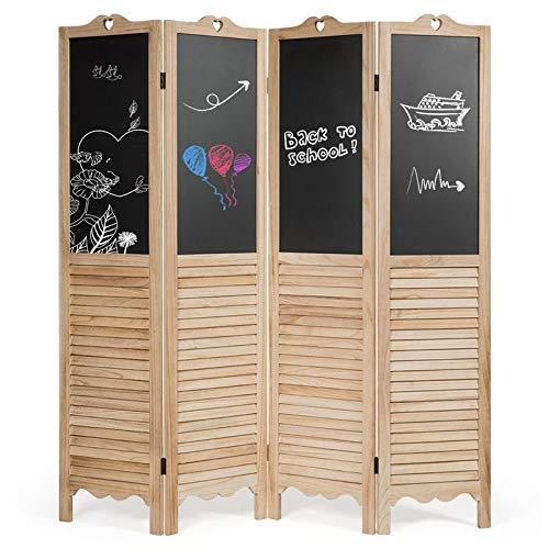 GOPLUS 4-teilige Trennwand, Raumteiler mit Kreidetafel, Raumtrenner aus Massivholz, Faltbares Paravent, Flexibel Klappbar, Multifunktionaler, Sichtschutz, für Wohnzimmer Badmöbel Balkon