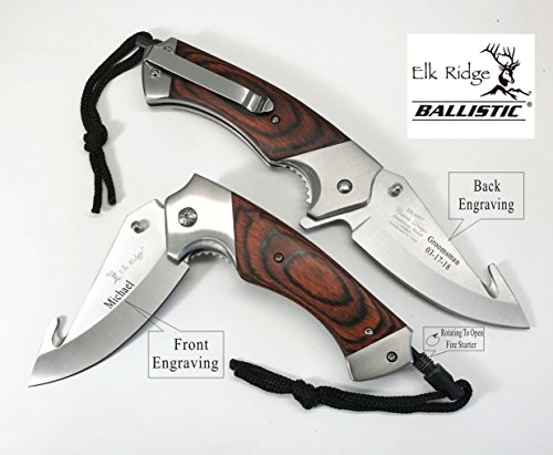 e-tradeusa Personalized Rescue Hunting Knife, Gut Knife Rosewood Handle -fire Starter- Groomsmen, Best Man Gift for Men, him