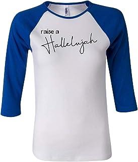 Trenz Shirt Company Women's Holiday Raise a Hallelujah 3/4 Sleeve Raglan Tee-Royal Blue-Medium