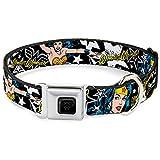 Buckle-Down Seatbelt Buckle Dog Collar - Wonder Woman/StarsBlack/White - 1.5' Wide - Fits 18-32' Neck - Large