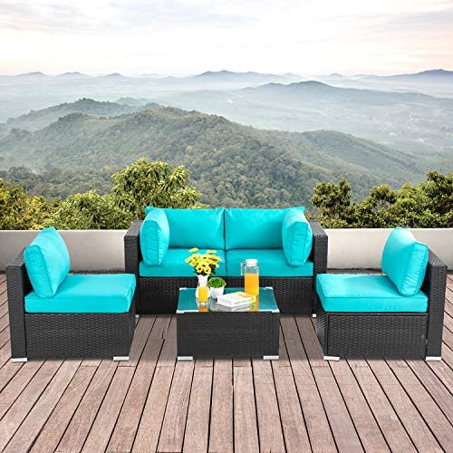 Best Walsunny 5pcs Patio Outdoor Furniture Sets,Low Back All-Weather Rattan Sectional Sofa with Tea Table
