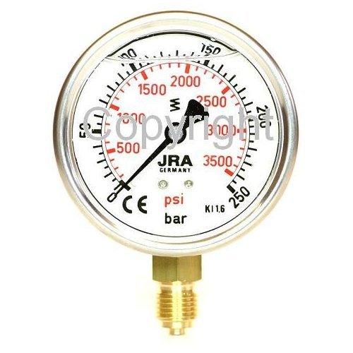 """JRA-Longlife Glyzerin Manometer 0-250 bar NG63 Anschluss unten G1/4"""""""