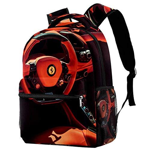 TIZORAX - Mochila de viaje para mujer, diseño de Ferrari, color rojo