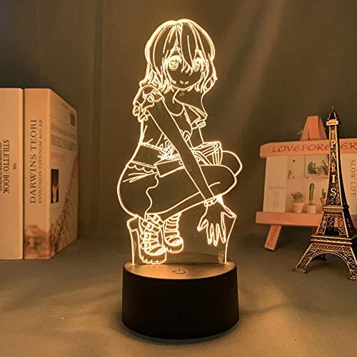 Luz de noche 3D anime para niños, lámpara Kanojo & Okarishimasu Mami Nanami para decoración de dormitorio Luz de noche Manga Rent A Girlfriend Led para regalo de cumpleaños
