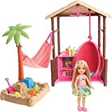 Barbie Chelsea Doll and Tiki Hut Playset with 6-inch Blonde Doll, Hut with Swing, Hammock, Moldable Sand, 4 Molds and 4 Storytelling Pieces, Gift for 3 to 7 Year Olds [Amazon Exclusive]