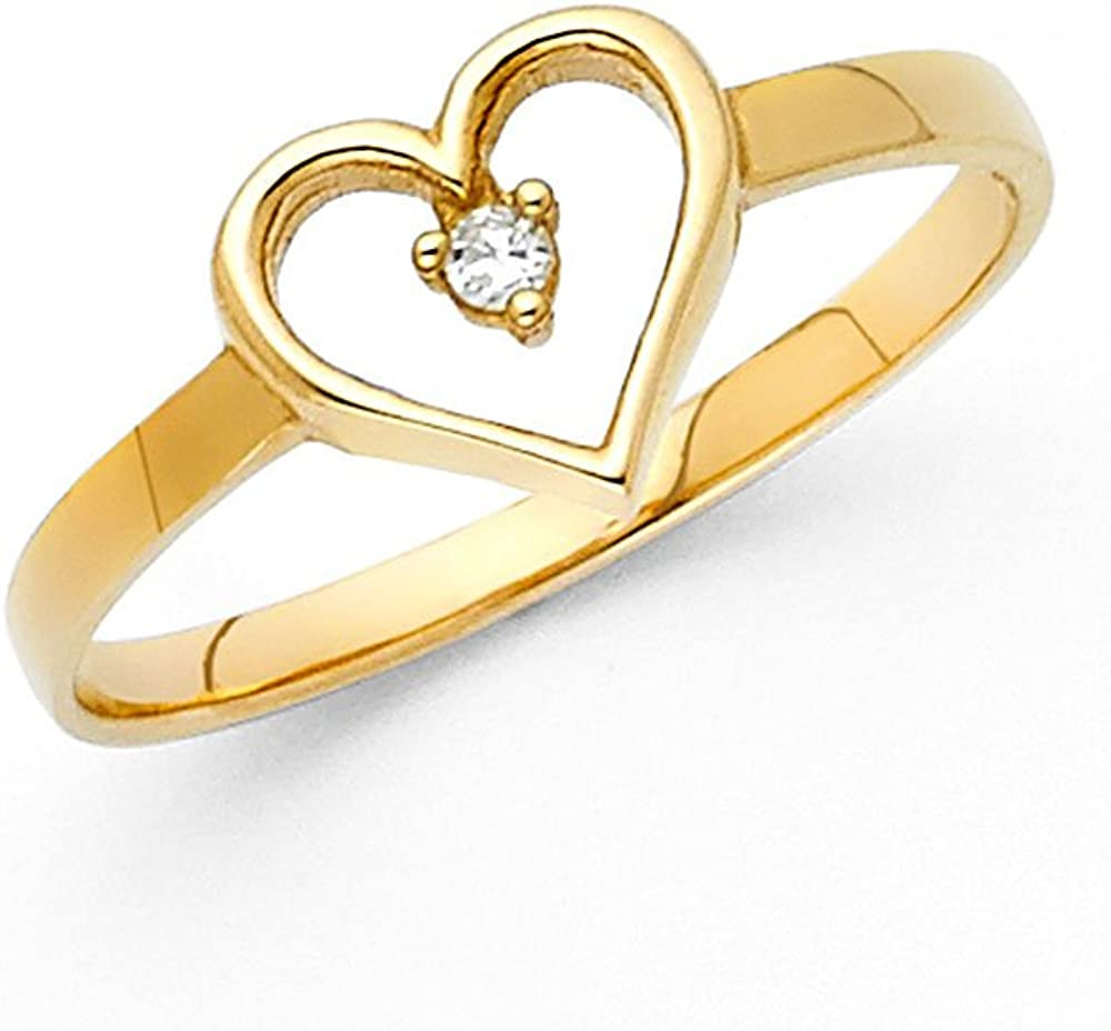 Jewels By Lux 14K Yellow Gold Fashion Heart Phoenix Mall Popular shop is the lowest price challenge CZ Cubic Zirconia An