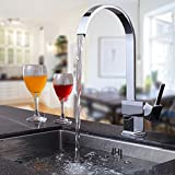 Fapully Kitchen Sink Faucet Square Flat Spout Bar Sink faucet Mixer Taps,Solid Brass Construction Chrome Finished