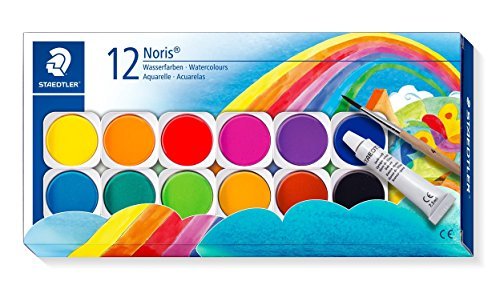 Staedtler Noris 888, Palette de peinture aquarelle de haute qualité, Boîte de 12 pastilles aquarelles avec 1 tube de gouache blanche et 1 pinceau, 888 NC12