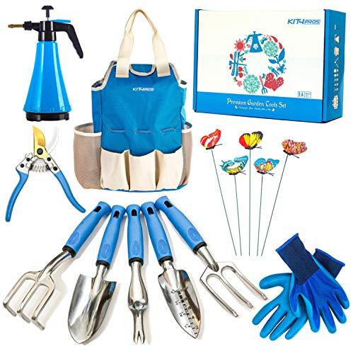 Kit4Pros Garden Tool Set Gardening Gifts for Women & Men & Birthday | Heavy Duty Tools Kit | Pruning Shears | Gardener Gloves| Sprayer| Weeder| Trowel| Storage Tote Bag Organizer