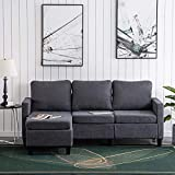 Bonnlo L Shaped Couch Small Convertible Sectional Sofa Couch for Living Room Grey Sectional Sofa with Reversible Chaise,Small Fabric Sectional Sofas for Small Place,Dark Grey