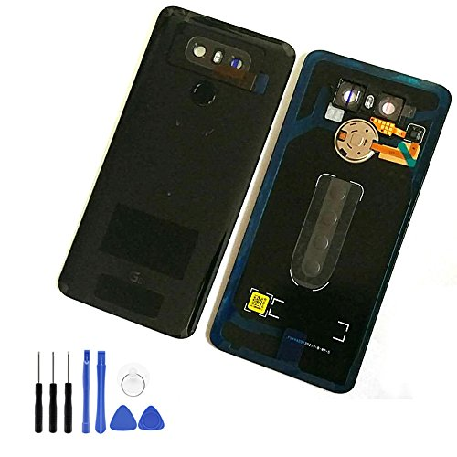 Glass Battery Back Cover for LG G6 - Battery Door Cover + Fingerprint Flex Sensor + Camera Glass Lens Cover Replacement Parts (Waterproof) with Opening Tool (as The Picture) for LG G6 Verizon VS988