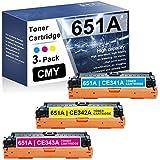 3-Pack (1C+1M+1Y) 651A RemanufacturedToner Cartridge Compatible Replacement for HP 651A | CE341A CE342A CE343A Laserjet Enterprise 700 Color MFP M775dn(CC522A) M775f(CC523A) Printer Toner