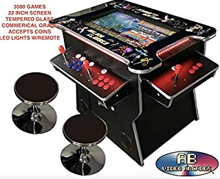 Ab Video Inc 3500 Games Black Huge 22 inch Screen Adjustable Stools Video Game Machine Cocktail Arcade Machine Classic Games Commercial Grade CL0192