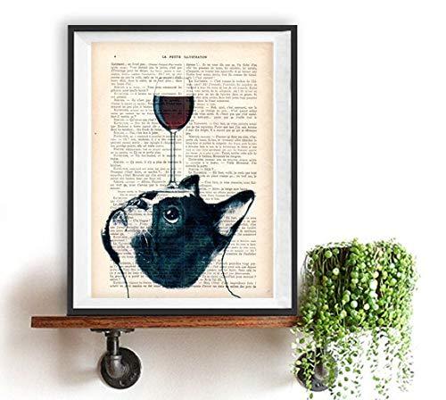 HRHRHREU Bulldog francese stampa Bulldog con bicchiere di vino disegno francese poster bianco e nero stampa artistica su pagina di libro francese riciclata
