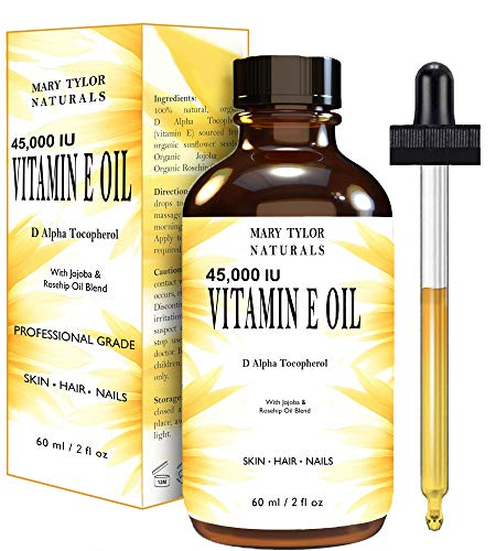 Natural Vitamin E Oil, (2 oz) 45,000 IU + Organic Rosehip & Organic Jojoba Blend for Skin, Body &...