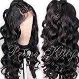"""Small Cap 13x6 Brazilian Remy Human Hair Wig with Baby Hair Curly Human Hair Lace Front Wigs Pre Plucked Glueless Lace Front Human Hair Wig for Black Women Body Wave Lace Frontal Wig 130% Density 22"""""""