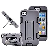 iPhone 4s case, iPhone 4 case, MagicSky Robot Series Hybrid Armor Defender Case Cover with Kickstand for Apple iPhone 4/4S - Gray