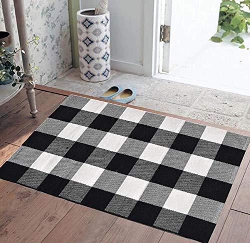Buffalo Plaid Teppich für drinnen und draußen, Büffel-Teppich, Bauernhaus-Teppiche für Tür, Küche, Bad, Veranda, Dekoration, geschichteter Welcome-Teppich, Fußmatte, 61 x 88,9 cm, schwarz und weiß 3