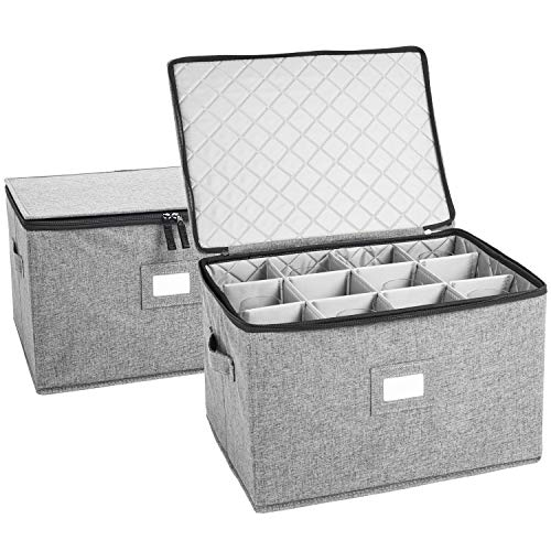 Wine Glass Storage Holds 12 Red or White Wine Glasses Fully-Padded Inside with Hard Top and Sides Grey - Set of 2