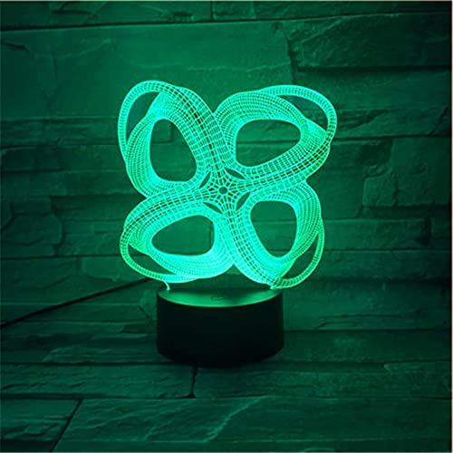 AOXULIU Luz de noche Creativo Abstracto 3D Colorido Led Visual Estéreo Luz Nocturna Estéreo Ilusión Lámpara Atmosférica Botón Táctil Usb Decoración Del Hogar Base Blanca