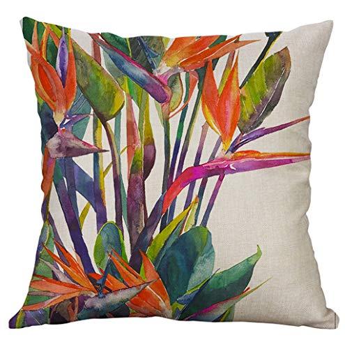 Lonupazz Printed Pillow Case Tropical Leaves Plants Flowers Linen Sofa Car Decorative Cushion Cover 40 x 40 cm, Cotton mix, F, 45_x_45_cm