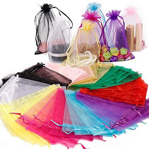 Bolsitas de Tela para Regalos, 50 Piezas Multicolor Bolsas de Organza de Regalo para Boda Favores y Joyas (10 * 15cm)