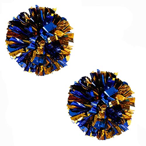 """Bstgifts 13"""" 2 Pack Plastic Pom Poms Cheerleading Pom Poms Sports Dance Cheer Plastic Pom Pom for Rooters,Cheering Squard,Cheering Team(Blue+Gold)"""
